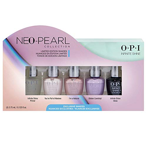 OPI Infinite Shine Nagellack 5er Mini Set - glänzender und langanhaltender Farblack - Gel Effekt - exklusive OPI ProWide Brush, 5 x 3,75 ml - limitierte Neo Pearl Collection, 15.52 g