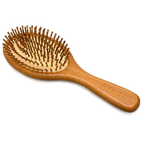 ECOMONKEY® Brosse à cheveux en bambou durable avec épingles en bois + 100% végétalien + brins naturels + écologique + antistatique