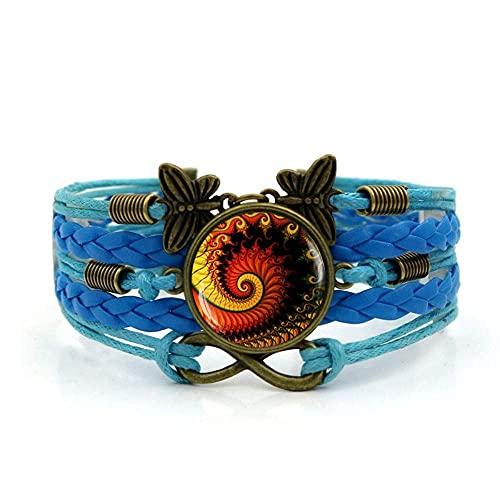 Pulseira de tecido JUNWEN, corda azul Fibonacci, moda em espiral, pulseira de pedras preciosas, multicamadas, combinação de vidro, joias femininas modernas, estilo europeu e americano