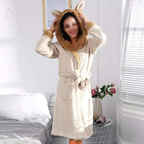 XJJZS Invierno Lindo cálido Albornoces Mujeres Dibujos Animados Conejo Rodilla Longitud de baño con Capucha Vestido Suave Dama de Honor túnicas Mujer (Color : A, Size : Small)