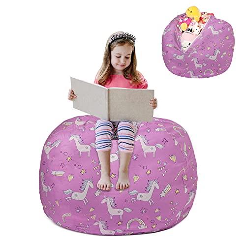 Stofftier Spielzeug-Aufbewahrungsbeutel Sitzsäcke für Kinder-umwandelbar in Einen Kindersessel-Organizer,32-Zoll-Dinosaurierfamilie aus dickem Polyester(Nur Abdeckung)