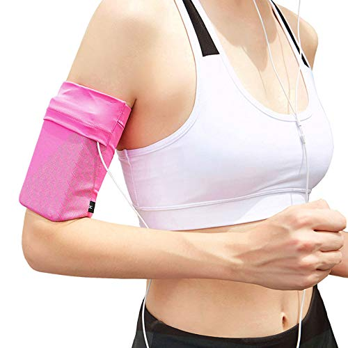 Ailzos Cell Phone Armband for Running, Universal Sports Armband for iPhone 8/7/7S/6/6S/SE/5, Samsung Galaxy S9/S8/S7/S6 Phones Sport Running Exercise Gym Armband with Keys Pocket for Running,(Pink,L)