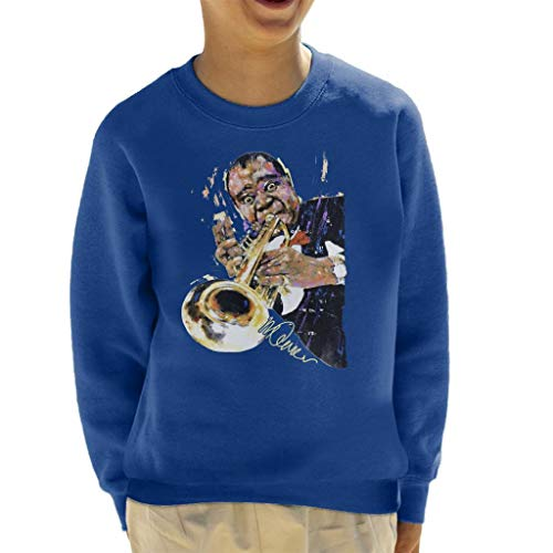 VINTRO Louis Armstrong Kinder Sweatshirt mit Trompete Original Portrait von Sidney Maurer professionell bedruckt Gr. XS, königsblau