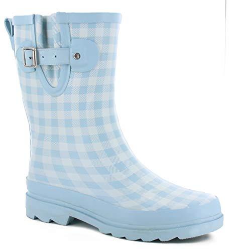 Western Chief Women's Waterproof Printed Mid Height Rain Boot, Grunge Gingham, 9