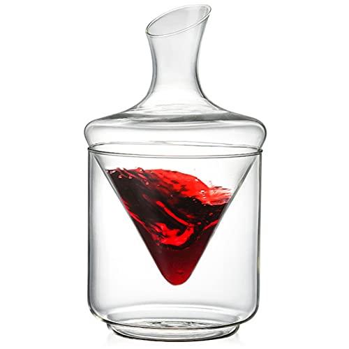 Decantador de vino casero creativo, con dispensador de vino giratorio de cubo de hielo, decantador de vino casero comercial, dispensador de vino (versión de vidrio transparente) (Color : Clear)