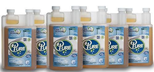 of pure he detergents PURE Natural Laundry Detergent 64 Loads-100% Natural Laundry Detergent for Sensitive Skin -Free and Clear-Sensitive Skin Friendly-Hypoallergenic-Ingredients listed on label -(1 pack) (6 pack)