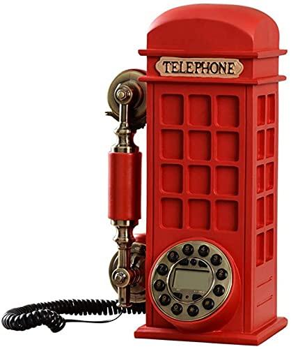 Teléfono Retro Cabina de teléfono Vintage Botón de marcación del hogar Europeo Teléfono Fijo Antiguo, Decoración de Escritorio para el hogar