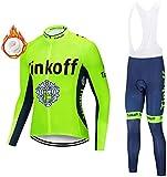 BSGB Men's Long Sleeve Cycling Suit Set, Sportswear Windproof Cycling Jersey Set(Thermal Fleece Jersey + 3D Padded Pants Trousers)