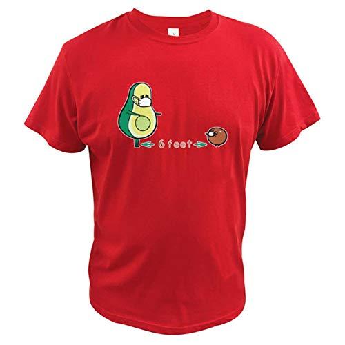 Social distancing Avocado T Shirt Keep 6 Feet T-Shirt 100% Cotton Short Sleeve Tops tee-Red,XL