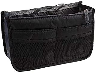 Fashion Multifunction Women Ladies Travel Insert Pockets Handbag Comestic Organiser Gadget Portable Expandable Tidy Pouch Purse Double Zipper Nylon,Black