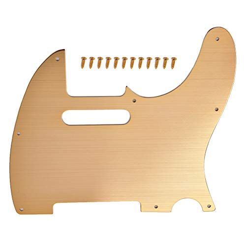 SuPVOX Schlagbrett für Tele-Gitarre, mit 8 Löchern aus Aluminiumlegierung, für US-Mexikanischer Standards, goldfarben