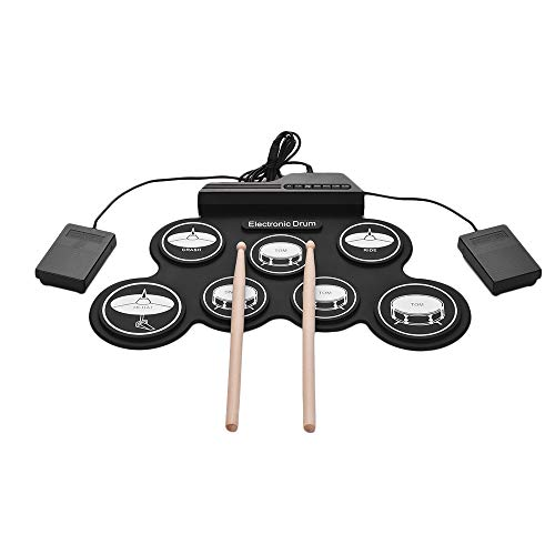 Muslady USB Roll-Up Silicon Drum Set Digital Electronic Drum Kit 7 Drum...