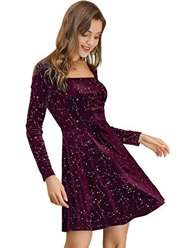 Allegra K Vestido Mini Estrellas Terciopelo Cuello Cuadrado Vintage para Mujer Navidad Día De Los Reyes Magos Borgoña XS