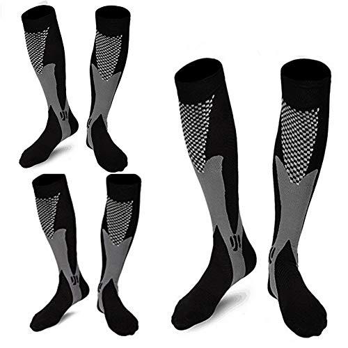 3 Pairs Medical&Althetic Compression Socks for Men,20-30 mmhg Nursing Socks for Edema Diabetic Varicose Veins Running (3Black)