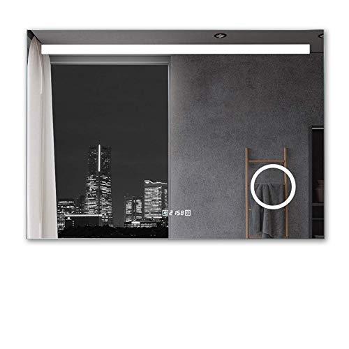 MIQU Badezimmerspiegel 120x80cm mit Beleuchtung LED Badspiegel Wandspiegel kaltweiß Lichtspiegel mit 3-Fach Vergrößerung Knopfschalter Beschlagfrei Uhr 1200