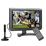 10.6inch Battery ATSC TV, with Outdoor/Travel/Hurricane Portable TV, Support USB/TF/AV in/Remote Control Function, Black
