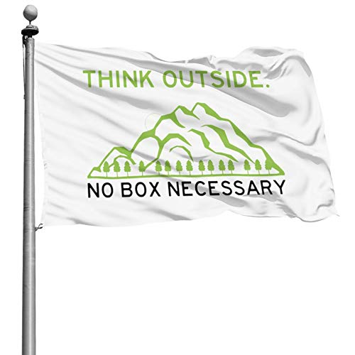 YRNAVEI Think Outside Funny No Box Necessary Flag 4x6 feet Strong, Durable, not Easy to Fade, Easy to disassemble, Brass Grommet, Stylish Logo