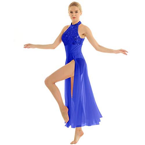 inhzoy Vestido Maillot de Danza Ballet para Mujer Lentejuelas Traje de Baile Lrico Tango Disfraz de Bailarina Leotardo Body de Patinaje Arstico Dancewear Azul S