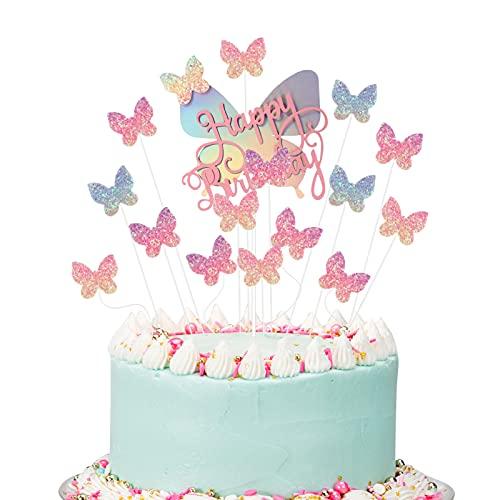 Popuppe 16 Stück Schmetterlinge Geburtstag Tortendeko Topper Happy Birthday Kuchendekoration Cake Topper für Geburtstag Party (pink)