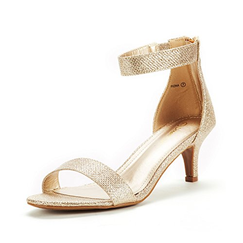 DREAM PAIRS Women's Fiona Gold Glitter Fashion Stilettos Open Toe Pump Heeled Sandals Size 10 B(M) US