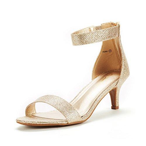 DREAM PAIRS Fiona Damen Sandalen mit Mode Stilettos Offene Zehen Ferse Gold Funkeln 9 US/ 40 EU
