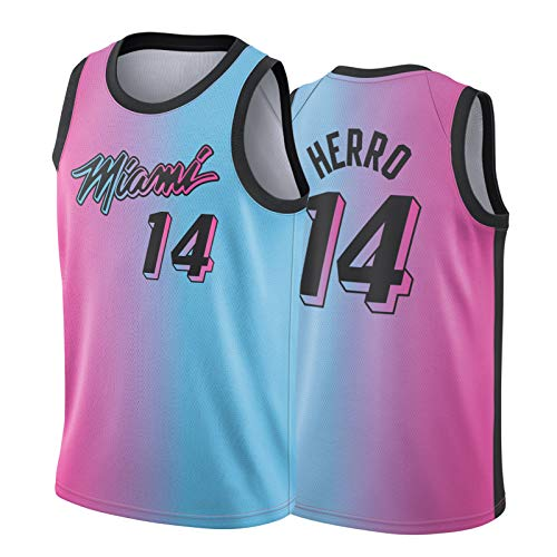 ZGRW Tyler Herro - Camiseta de baloncesto para hombre, 2021 New Season Miami Heat 14 # Fans Edition camisetas de baloncesto, transpirable, rendimiento rosa, azul y XL