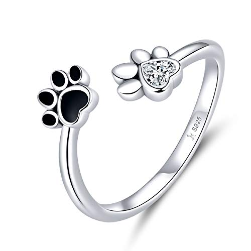 Anillo de corazón de amor de plata de ley 925 para mascota Perro Huella de gato Recuerdo Joyería pequeña para siempre en mi corazón Impresión de pata