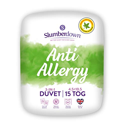 Slumberdown Anti Allergy Single Duvet 4.5 Tog Plus Single Duvet 10.5 Tog 3 in 1 Combination All Seasons 15 Tog Duvet Single Bed