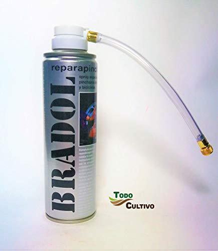 Todo Cultivo Bradol Kit antipinchazo. Spray repara pinchazos valido para Coches, Motos y Bicicletas. Destaca por la sencillez de su manejo.