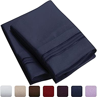Mellanni Luxury Pillowcase Set Brushed Microfiber 1800 Bedding - Wrinkle, Fade, Stain Resistant - Hypoallergenic (Set of 2 Standard Size, Royal Blue)