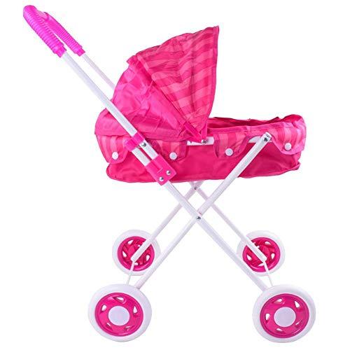 Doll Trolley Girls Carrito simulado Cochecito Cochecito Juguetes para niños Sillas de Paseo Portátil Juego de Roles para bebés Muñecas Cochecito para Interiores y Exteriores
