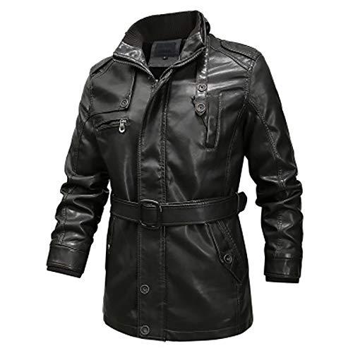HYISHION Herren Echtleder Biker Jacke Premium Lederjacke Weiches Schafs-Leder mit vielen Details und Zippern,Grau,6XL
