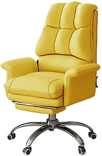 Silla de oficina de la oficina de la oficina, silla de la oficina de la PU de la ejecutiva Reclinable de la espalda alta, silla de juego de oficina giratoria con reposapiés retráctil, silla ergonómica