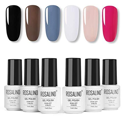 ROSALIND Gel Nagellack UV Nudefarben Set,Gel Nail Polish für Nagel-Design 6pcs 7ml,Schellack...