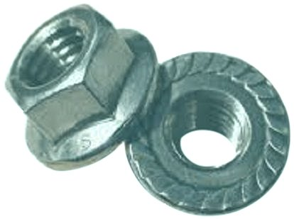 Grade 2 Steel Hex Flange Nut, Zinc Plated Finish, Self-Locking Serrated Flange, ASME B18.2.2, 3/4