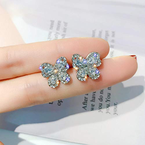 Earrings Women Studs Crystal Rose Gold Stud Earrings Butterfly Earrings Women Party Gold Silver Color Jewelry -Platinum_Plated
