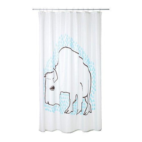 Ikea Tydingen Shower Curtain, White/Blue
