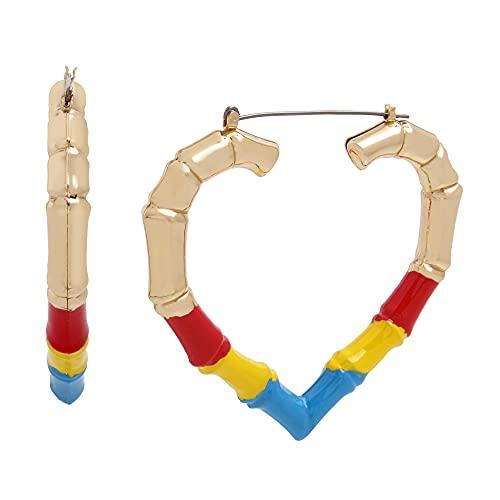 Betsey Johnson Bamboo Heart Hoop Earrings