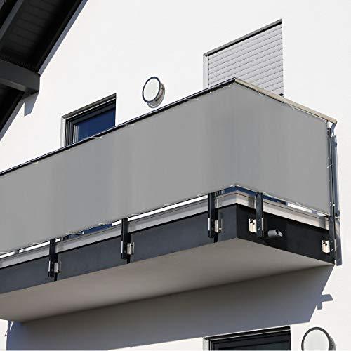 Balkonsichtschutz 600 x 90 cm grau (Grau)