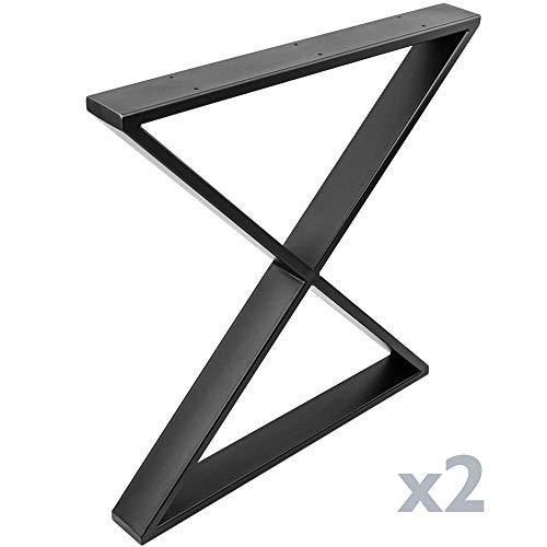 PrimeMatik - Poten in 'X' voor tafel Poten in zwart staal 680 x 80 x 710 mm 2-pack