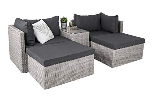 Homexperts Lounge Set CHILL/Edle Garten-Garnitur Polstern Couchtisch mit Glas-Platte/PE Rattan/Gestell Metall/Outdoor Sofa/Longchair/Variabel stellbar/XXL, Grau und Anthrazit