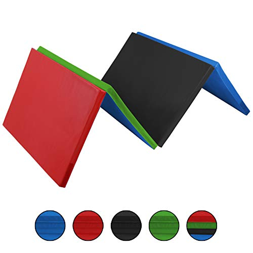 ALPIDEX Klappbare Weichbodenmatte Turnmatte 300 x 120 x 5 cm RG 18 mit Klettecken 3fach klappbar mit Antirutschboden, Farbe:bunt