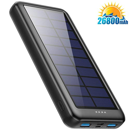 Pxwaxpy Cargador Solar 26800mAh, Power Bank Solar 【