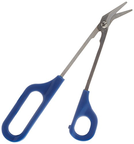 Homecraft Easi-Grip Chiropodist Scissors (Eligible for VAT Relief in the UK) Easy Grip Large Loop Long Handled Nail Scissors, Angled Stainless Steel Blade, Clippers Reduce Bending, Elderly, Disabled