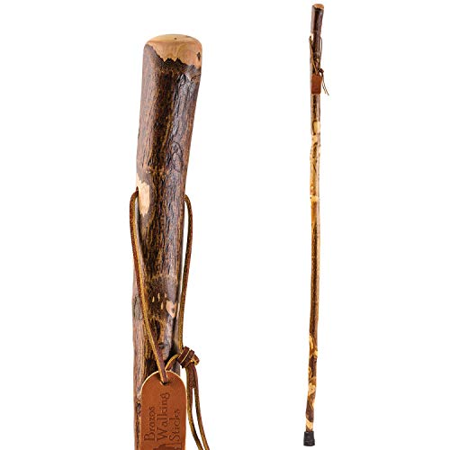 Brazos Trekking Pole Hiking Stick for Men and Women Handcrafted of Lightweight Wood and made in the USA, Hawthorn, 55 Inches