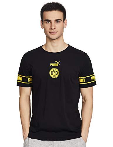 PUMA Herren T-Shirt BVB ftblCulture Tee, Puma Black-Cyber Yellow, XL, 758107
