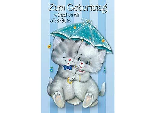 Grußkarten Glückwunschkarte Geburtstagskarte Klappkarte mit Briefumschlag - 2 Kätzchen unterm Regenschirm - Höhe 17,5 x Breite 11,5cm