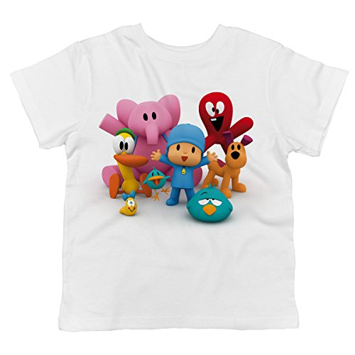 Trunk Candy Pocoyo - Pocoyo and All of His Friends Together 100% Cotton Toddler T-Shirt (White, 3T)