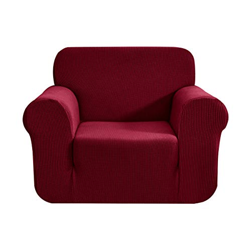 CHUN YI Stretch Chair Sofa Slipcover 1-Piece Couch Cover, 1 Seater Settee Coat Soft with Elastic Bottom, Checks Spandex Jacquard Fabric, Small, Wine