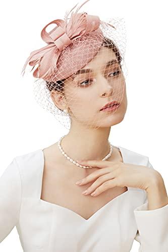 BABEYOND Feder Fascinators Hut Damen Blumen Schleife Mesh Hochzeit Braut Elegant Fascinator Haarreif Cocktail Tee Party Damen Fasching Kostüm Accessoires (Nude Pink)